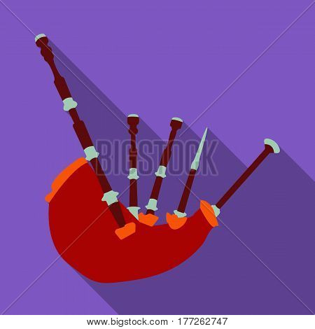Bagpipes from a cow s stomach.The national musical instrument of Scotland.The Symbol Of Scotland.Scotland single icon in flat style vector symbol stock web illustration.
