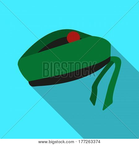 Scottish National traditional cap or beret with bubo and green checkered pattern in red colors.Scotland single icon in flat style vector symbol stock web illustration.