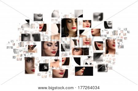 Red lipped seductress. Collage of studio beauty shots of a sexy beautiful red lipped young brunette isolated on white copyspace beauty fashionable style makeup classic cosmetics face skincare