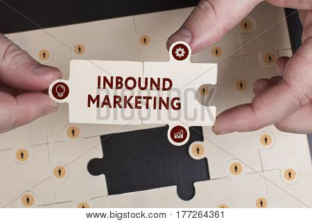 Business, Technology, Internet And Network Concept. Young Businessman Shows The Word: Inbound Market