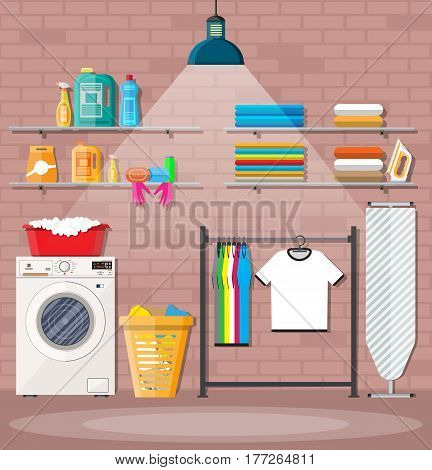 Laundry room with washing machine, ironing board, iron, clothes rack, household chemistry cleaning, washing powder and basket. Brick wall and lamp. Vector illustration in flat style
