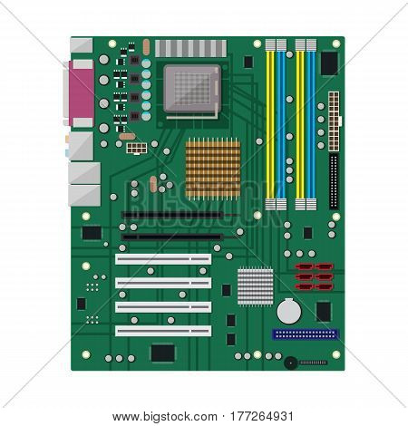 Motherboard isolated on white. PC hardware. Components for personal computer. PCB icon. Vector illustration in flat style