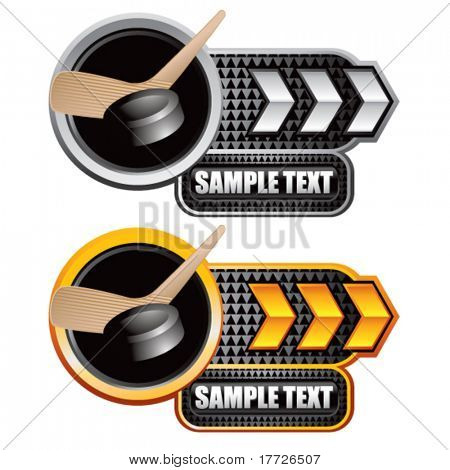 hockey stick and puck white and yellow arrow nameplates