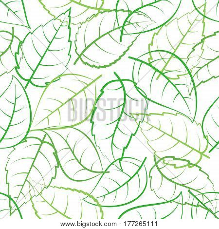 Seamless pattern of green leaves on white background
