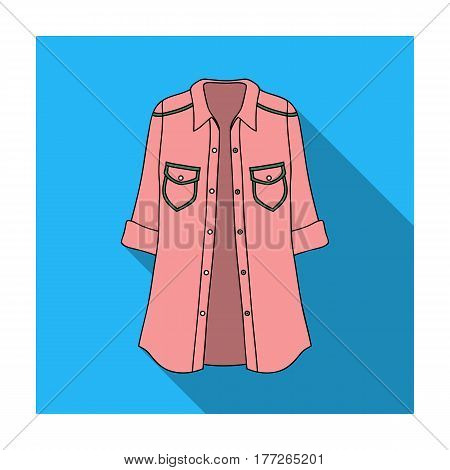 Green Women s jacket with buttons and short sleeves. Casual wear for the stylish woman.Women clothing single icon in flat style vector symbol stock web illustration.