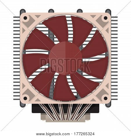 Plastic computer processor cooler with radiator isolated on white. PC hardware. Components for personal computer. Fan icon. Vector illustration in flat style