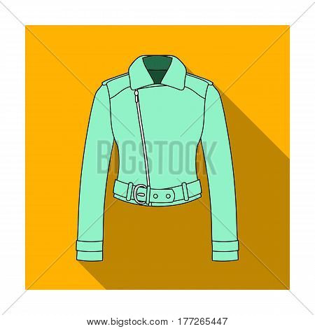 Green youth short leather jackets for confident women.Women clothing single icon in flat style vector symbol stock web illustration.