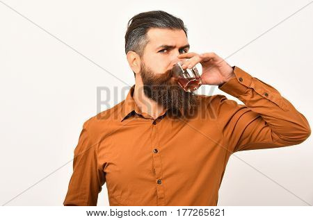 Serious Bearded Man Hipster With Whiskey Glass In Orange Shirt