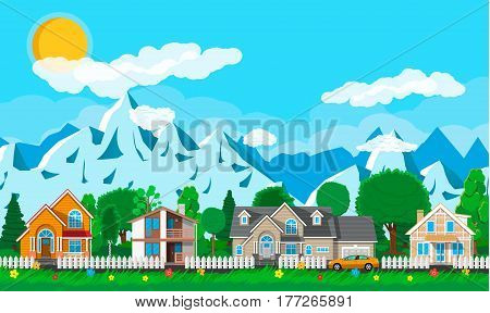 Private suburban houses with car, trees, road, mountains, sun, sky and clouds. Village. Vector illustration in flat style