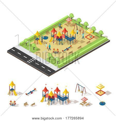 Child playground isometric concept with people slide swing sandbox carousel bench and trees vector illustration