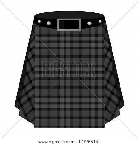 Scottish tartan kilt.The men s skirt for the Scots.Scotland single icon in monochrome style vector symbol stock web illustration.
