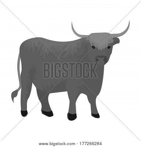 Brown bull with horns.Mountain bull is a symbol of Scotland.Scotland single icon in monochrome style vector symbol stock web illustration.