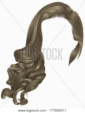 woman trendy long curly brunette hairs wig  blond brown colors.   retro style. beauty fashion. realistic 3d.
