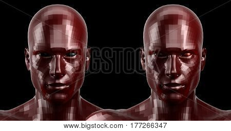 Low poly abstract portrait of a two red humanoids with black and red eyes . Cybernetic Futuristic Concept for your Design. 3D