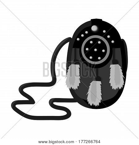 Scottish waist bag with fluff.The national dress of Scotland.Scotland single icon in monochrome style vector symbol stock web illustration.