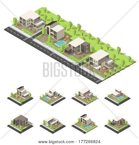 Isometric suburban buildings composition with villas mansions cottages green trees pools and roads isolated vector illustration