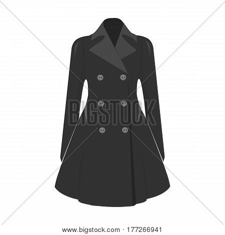 Blue female restrained coat buttoned. Women s outerwear. Woman clothes single icon in monochrome style vector symbol stock web illustration.