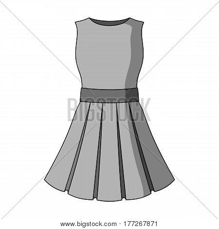 Beautiful light pink summer dress without sleeves. Clothing for a hike to the beach.Women clothing single icon in monochrome style vector symbol stock web illustration.