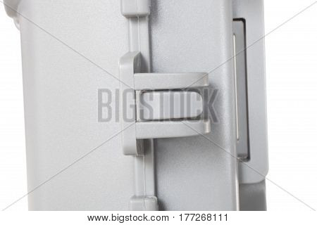 Side latch that locks on a security camera on white