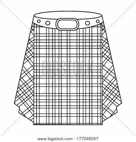 Scottish tartan kilt.The men s skirt for the Scots.Scotland single icon in outline style vector symbol stock web illustration.