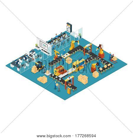 Isometric industrial factory concept with office workspace automated manufacturing line robotic arms and machinery vector illustration