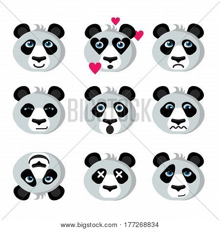 Panda emotional funny emoticons icons; Happy panda in love sad worried; Panda flirts shocked and killed; Prankster surprised