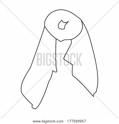 Red silk woman s scarf. Female an accessory scarf. Woman clothes single icon in outline style vector symbol stock web illustration.
