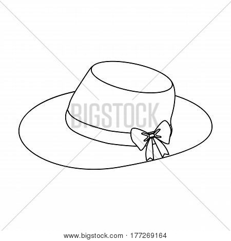 Red female hat with a bow. Summer hat for adult women.  Woman clothes single icon in outline style vector symbol stock web illustration.