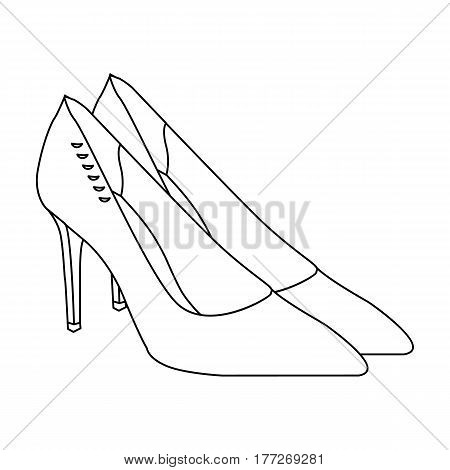 Women s leather shoes with heels. Casual shoes for women dress. Woman clothes single icon in outline style vector symbol stock web illustration.