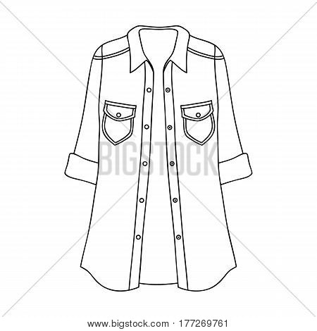 Green Women s jacket with buttons and short sleeves. Casual wear for the stylish woman.Women clothing single icon in outline style vector symbol stock web illustration.