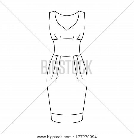 Red long evening dress for a hike in the theater. Women s sleeveless dress.Women clothing single icon in outline style vector symbol stock web illustration.