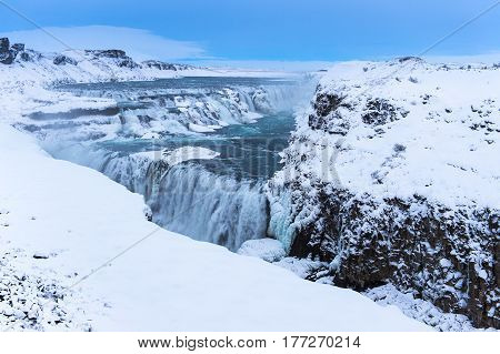 Gullfoss waterfall southwest Iceland biggest waterfall that generate electricity in this area