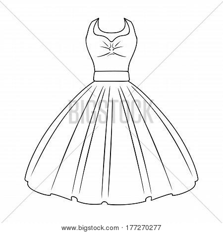 White fluffy wedding dress for a girl. Wedding wear.Women clothing single icon in outline style vector symbol stock web illustration.
