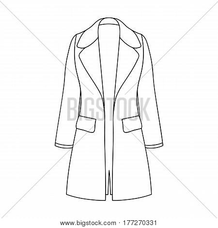 Blue female restrained coat buttoned. Women s outerwear.Women clothing single icon in outline style vector symbol stock web illustration.