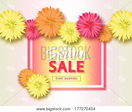 Spring sale background with flowers. Season discount banner. Vector illustration , template. Wallpaper, flyers, invitation, posters, brochure