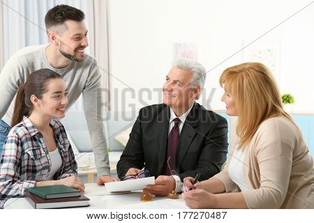 Family consulting notary public at office