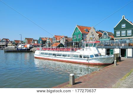 Excursion Ship in Harbor of Edam-Volendam at Ijsselmeer,Netherlands,Benelux