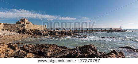 Panorama view of la Chaume jetty (Les Sables d'Olonne, France)