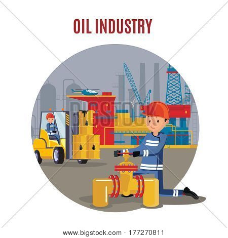 Industrial petrochemical factory template with workers opening valve on pipeline and transporting oil barrels vector illustration