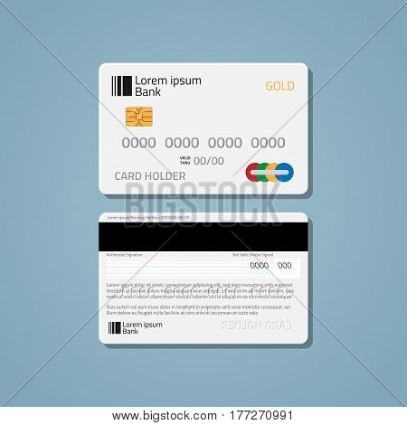 A realistic bank credit or debit card with a chip to pay for purchases in the store and the Internet. The card is white with volumetric numbers and letters on a blue background.