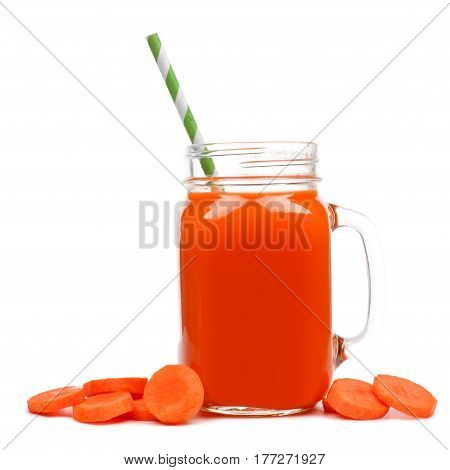Mason Jar Glass Of Carrot Juice With Straw And Surrounding Carrot Slices Isolated On A White Backgro