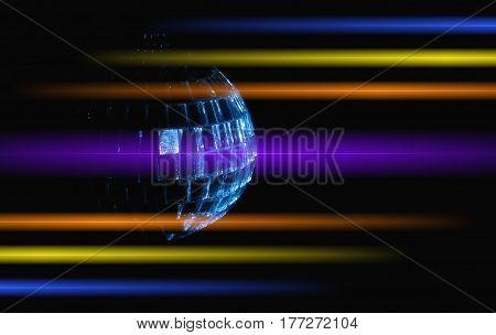 disco ball with rays over dark night club interior background