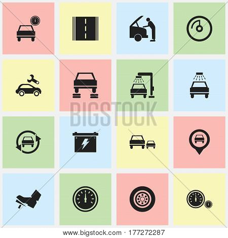 Set Of 16 Editable Car Icons. Includes Symbols Such As Treadle, Car Fixing, Highway And More. Can Be Used For Web, Mobile, UI And Infographic Design.