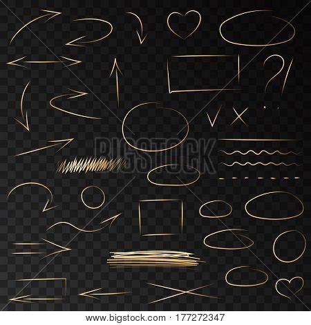 Hand drawn neon golden arrows doodle circles and highlighter brush lines. Isolated vector highlight gold marker strokes set.