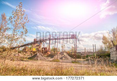 a old asphalt plant. A close up