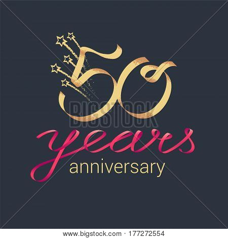 50 years anniversary vector icon logo. Graphic design element with lettering and red ribbon for decoration for 50th anniversary ceremony