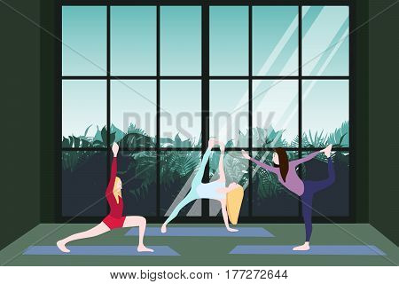 Yoga class template with flexible women exercising on gymnastic mat and green floral scenery outside window vector illustration