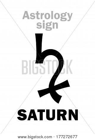 Astrology Alphabet: SATURN, classic major planet. Hieroglyphics character sign (single symbol).