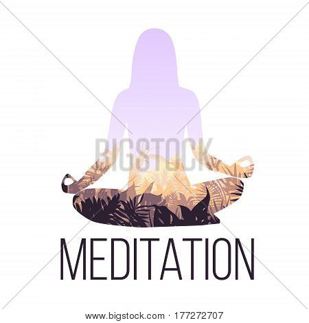 Yoga balance concept with woman silhouette sitting in lotus pose and light floral landscape inside isolated vector illustration