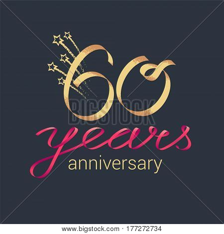 60 years anniversary vector icon logo. Graphic design element with lettering and red ribbon for decoration for 60th anniversary ceremony